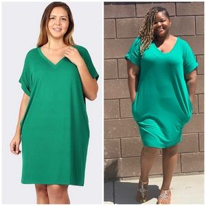 Dresses - Plus Size Kelly Green T Shirt Dress With Pockets